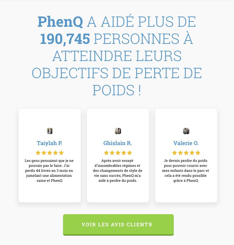 Avis des clients sur PhenQ